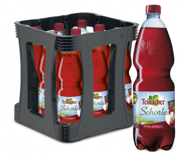 Teinacher Direktsaftschorle Apfel-Kirsch 9 x 1,0 Liter (PET/Mehrweg)